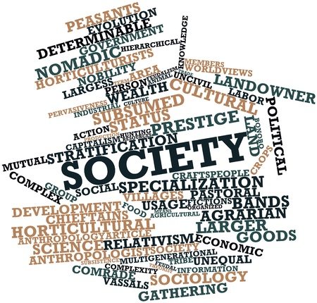 sociologia: Nube palabra abstracta para la Sociedad con las etiquetas y términos relacionados