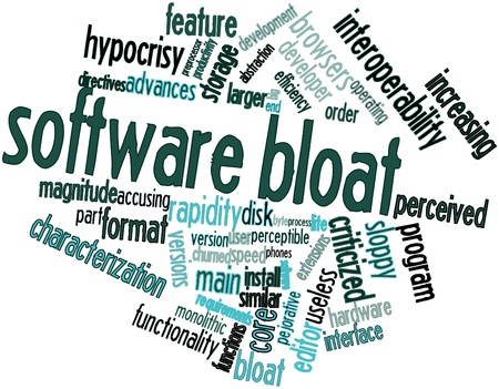 bloat: Abstract word cloud for Software bloat with related tags and terms