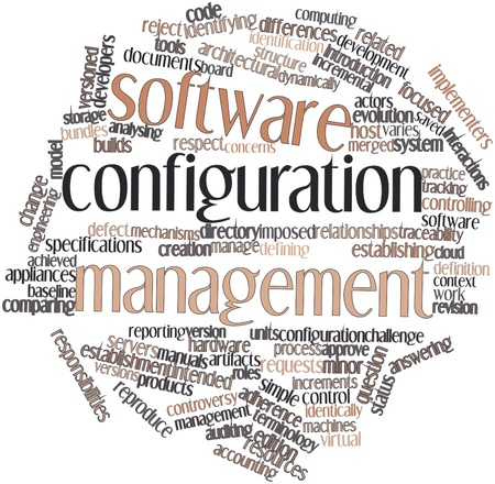 imposed: Abstract word cloud for Software configuration management with related tags and terms Stock Photo