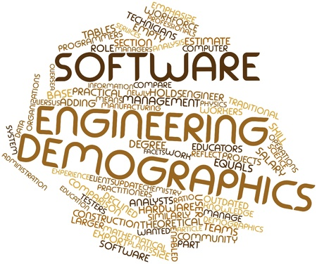 demographics: Abstract word cloud for Software engineering demographics with related tags and terms Stock Photo