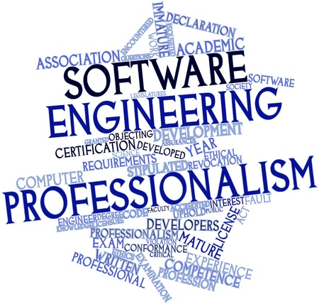 Abstract word cloud for Software engineering professionalism with related tags and terms Stock Photo - 16084113