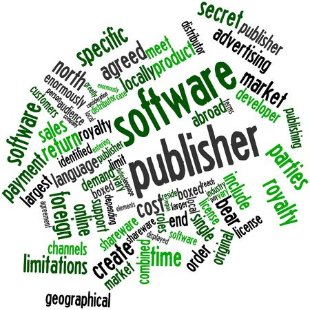 publisher: Abstract word cloud for Software publisher with related tags and terms Stock Photo