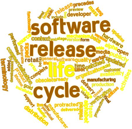 patched: Abstract word cloud for Software release life cycle with related tags and terms Stock Photo