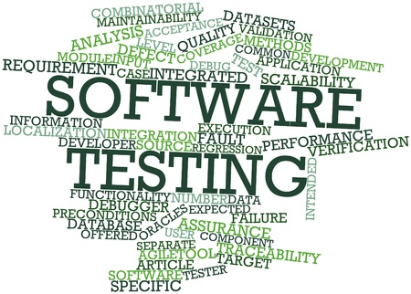 Abstract word cloud for Software testing with related tags and terms
