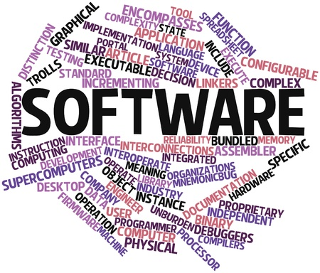 Abstract word cloud for Software with related tags and terms photo