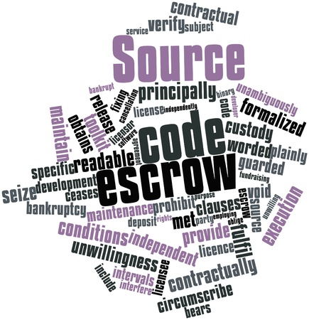 in escrow: Abstract word cloud for Source code escrow with related tags and terms