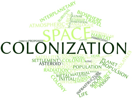 bioethics: Abstract word cloud for Space colonization with related tags and terms Stock Photo