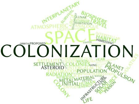 colonisation: Word cloud astratto per la colonizzazione spaziale con tag correlati e termini Archivio Fotografico