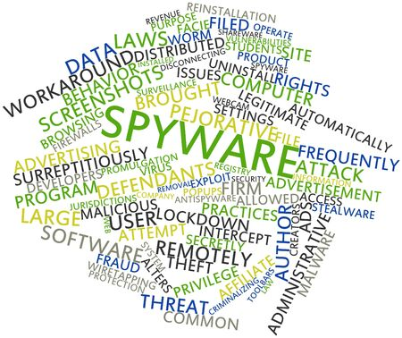 intercept: Abstract word cloud for Spyware with related tags and terms Stock Photo
