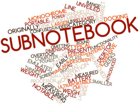 docking: Abstract word cloud for Subnotebook with related tags and terms Stock Photo
