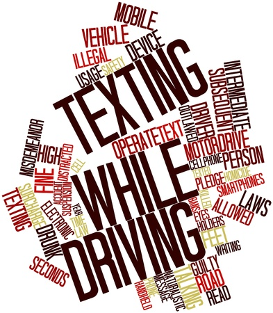 texting: Abstract word cloud for Texting while driving with related tags and terms