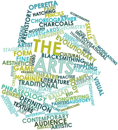 timbre: Abstract word cloud for The arts with related tags and terms