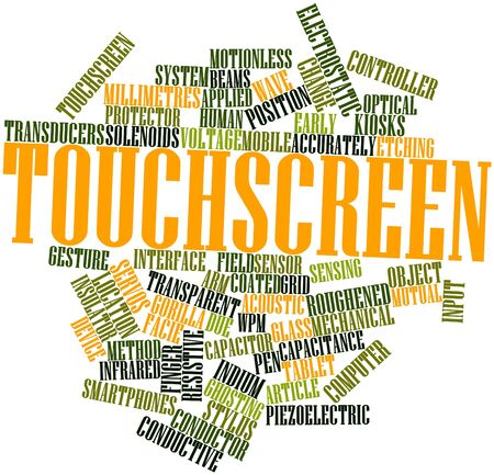 uncoated: Abstract word cloud for Touchscreen with related tags and terms