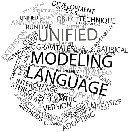 adopting: Abstract word cloud for Unified Modeling Language with related tags and terms Stock Photo