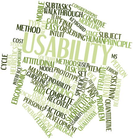 Abstract word cloud for Usability with related tags and terms Banco de Imagens