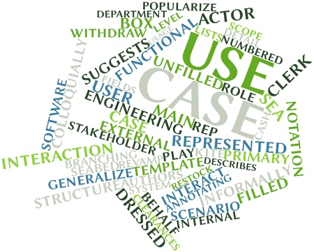 defining: Abstract word cloud for Use case with related tags and terms Stock Photo