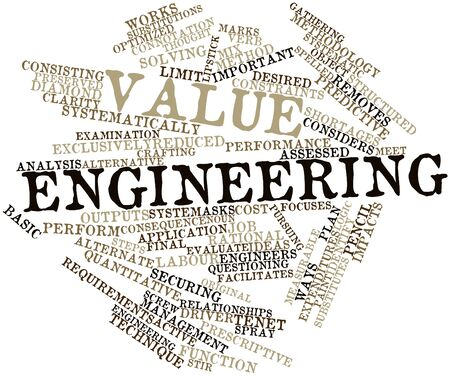focuses: Abstract word cloud for Value engineering with related tags and terms Stock Photo