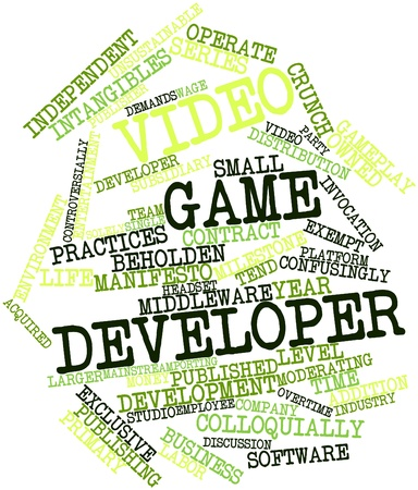 porting: Abstract word cloud for Video game developer with related tags and terms