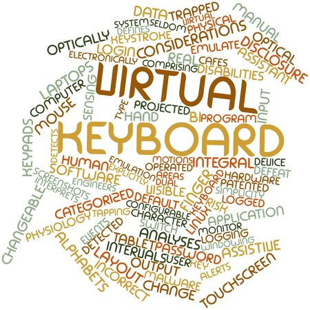 virtual assistant: Abstract word cloud for Virtual keyboard with related tags and terms Stock Photo