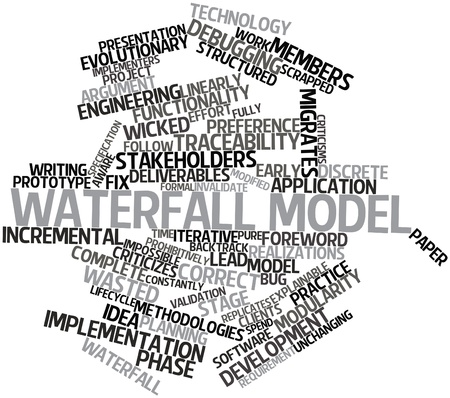 Abstract word cloud for Waterfall model with related tags and terms Stock Photo - 16084054