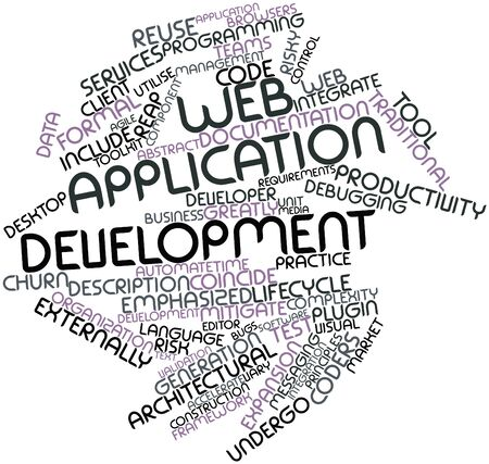emphasized: Abstract word cloud for Web application development with related tags and terms