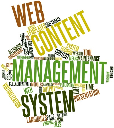 content management: Abstract word cloud for Web content management system with related tags and terms