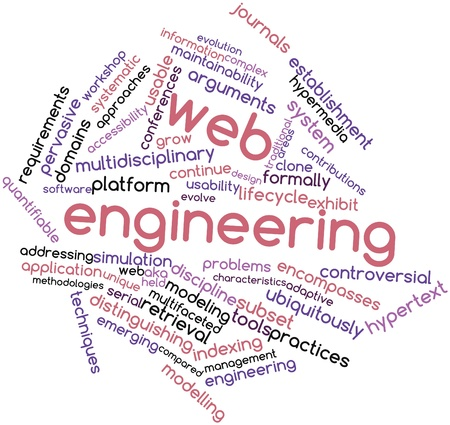 maintainability: Abstract word cloud for Web engineering with related tags and terms Stock Photo