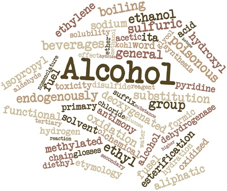 hydride: Abstract word cloud for Alcohol with related tags and terms Stock Photo