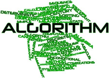 arbitrario: Nube palabra abstracta para el algoritmo con las etiquetas y términos relacionados Foto de archivo