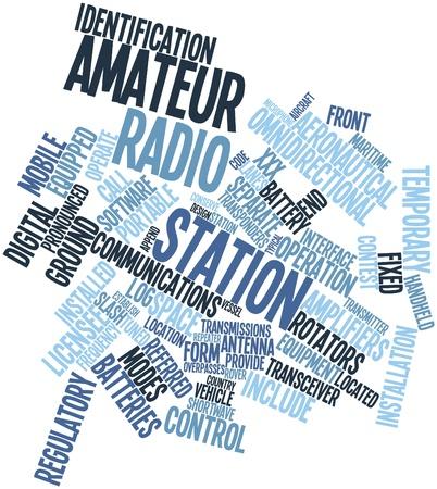 aficionado: Nube palabra abstracta para la estaci�n de radio amateur con las etiquetas y t�rminos relacionados Foto de archivo