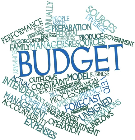 family budget: Abstract word cloud for Budget with related tags and terms