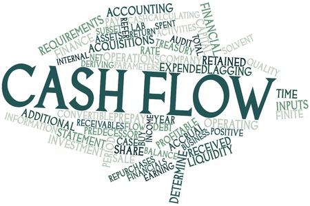 flujo de dinero: Nube palabra abstracta para el flujo de caja con etiquetas y t�rminos relacionados