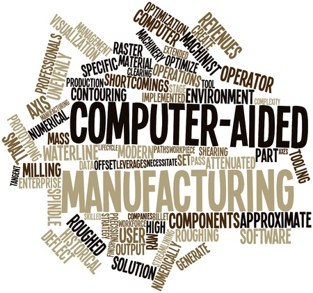 spindle: Abstract word cloud for Computer-aided manufacturing with related tags and terms Stock Photo