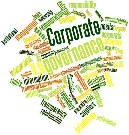 remuneraciones: Nube palabra abstracta para gobierno corporativo con las etiquetas y términos relacionados