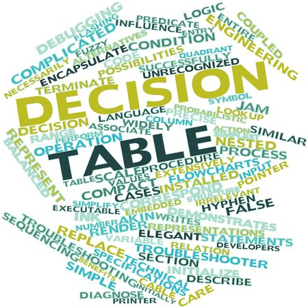 Abstract word cloud for Decision table with related tags and terms Stock Photo - 16414070