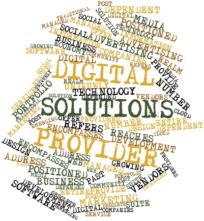 reaches: Abstract word cloud for Digital solutions provider with related tags and terms Stock Photo