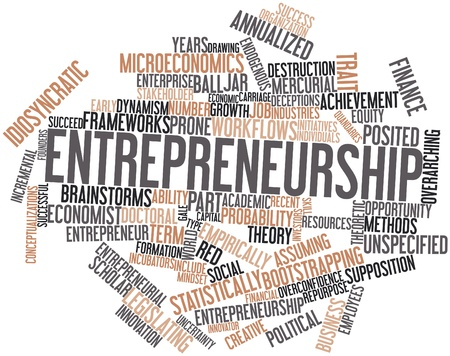 incremental: Abstract word cloud for Entrepreneurship with related tags and terms Stock Photo