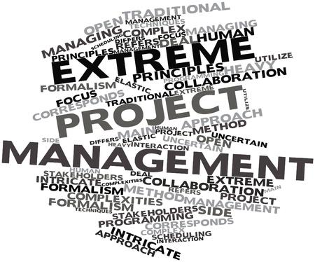 関連タグと用語との極端なプロジェクトマネジメントの抽象的な単語の雲