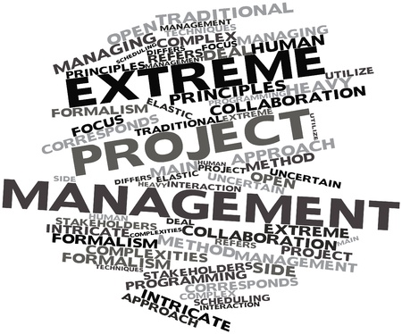 corresponds: Abstract word cloud for Extreme project management with related tags and terms Stock Photo