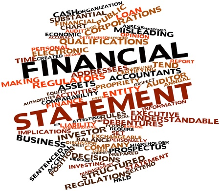statement: Abstract word cloud for Financial statement with related tags and terms