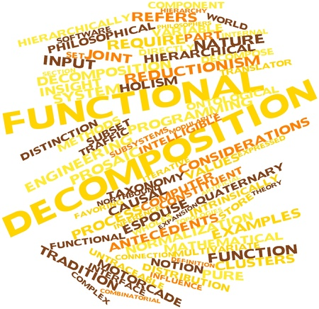 Abstract word cloud for Functional decomposition with related tags and terms Stock Photo