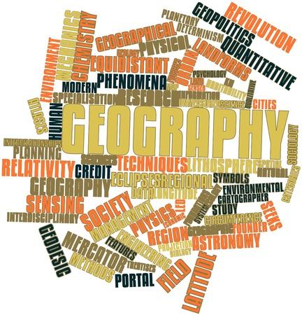 Nube de palabras Resumen de Geografía con etiquetas y términos relacionados Foto de archivo - 16414044