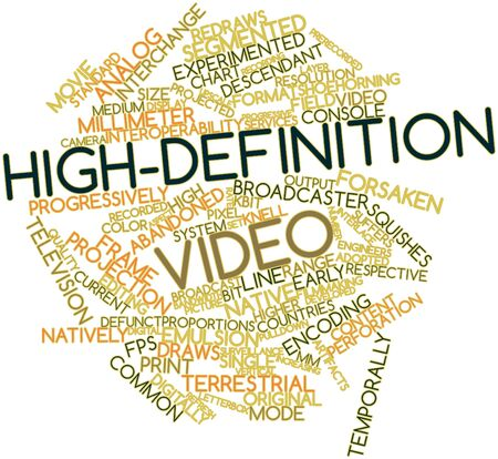 progressively: Abstract word cloud for High-definition video with related tags and terms Stock Photo