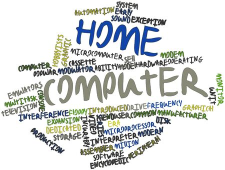 predicted: Abstract word cloud for Home computer with related tags and terms Stock Photo