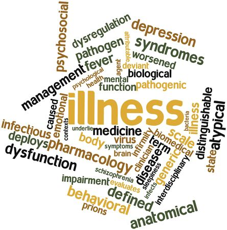 deemed: Abstract word cloud for Illness with related tags and terms Stock Photo