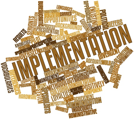 intent: Abstract word cloud for Implementation with related tags and terms Stock Photo
