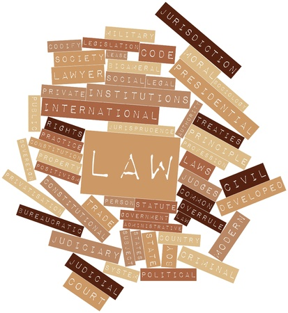 jurists: Abstract word cloud for Law with related tags and terms Stock Photo