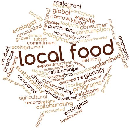 collaborative: Abstract word cloud for Local food with related tags and terms Stock Photo