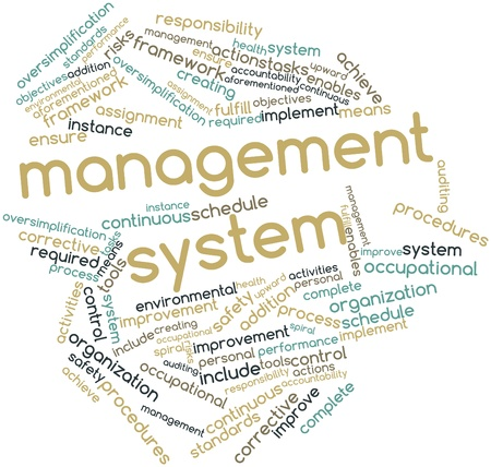 health risks: Abstract word cloud for Management system with related tags and terms Stock Photo