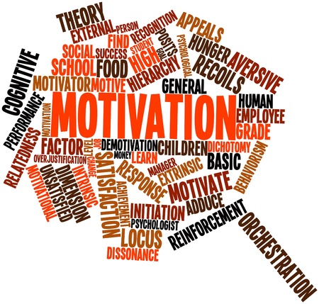 unsatisfied: Abstract word cloud for Motivation with related tags and terms Stock Photo